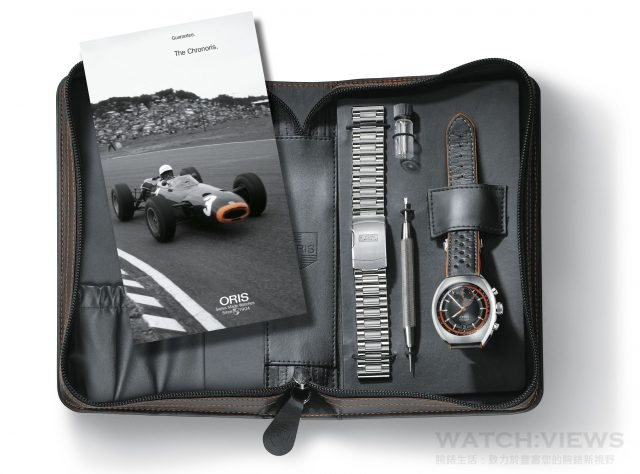 Chronoris combines the style of the 1970 original with the latest developments in High-Mech technology. This includes the additional minute counter positioned at 12 o'clock, tachymeter scale on the inner dial ring, and the Quick Lock system to secure the big crown. The black and orange leather strap emphasises the sports styling of the chronograph