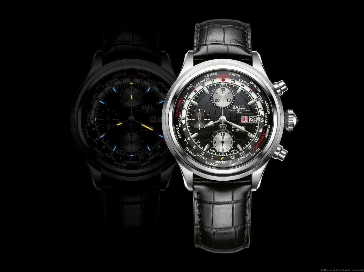 兩項傑出複雜時計功能的巧妙結合:Ball Watch Trainmaster Worldtime Chronograph