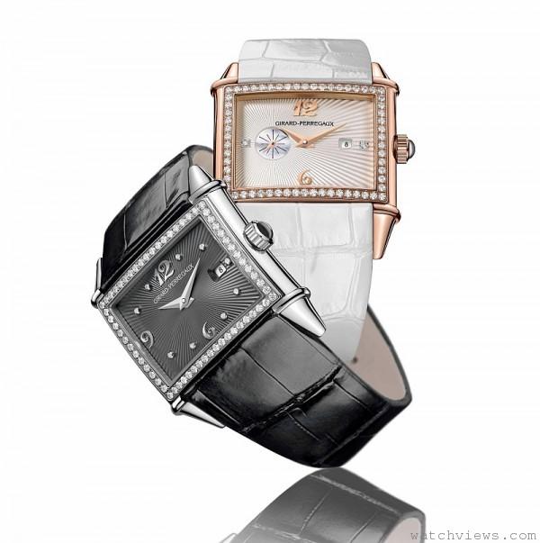 Vintage 1945 Lady仕女自動鑽錶,錶徑34. x 23.3毫米,時、分、小秒針、日期顯示 ,GP 2790自動上鏈機芯,動力儲存36小時,防水30米,玫瑰金款(鑲嵌70顆鑽石,約重0.70克拉),價格NT$973,800元(全球限量50只)