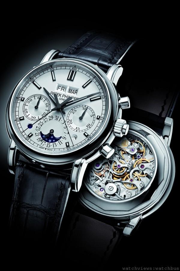 5204頂級複雜性能腕錶,950鉑金錶殼,萬年曆性能雙針計秒計時碼錶,CHR 29-535 PS Q手上鍊機芯,雙針計秒計時碼錶、萬年曆、星期、月份、閏年週期和日/夜顯示,指針式日期顯示;月相顯示,寶石玻璃錶殼底葢與鉑金錶殼底葢可供轉換,6 時位置鑲有1 顆頂級Wesselton 鑽石,防水30米,鱷魚皮錶帶搭配鉑金摺疊扣