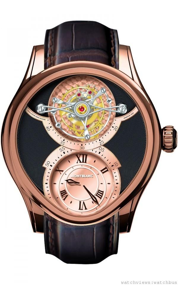 104873 萬寶龍Villeret 1858系列玫瑰金神秘鐘陀飛輪腕錶(Grand Tourbillon Heures Myst_rieuses),全球限量8只,價格店洽。