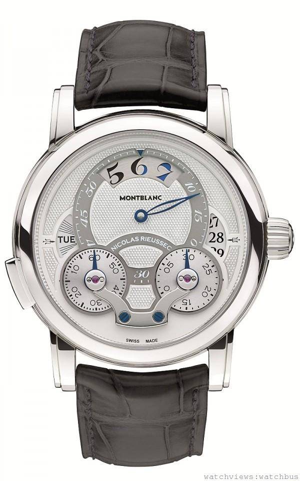 108788 萬寶龍Nicolas Rieussec系列Rising Hours計時腕錶950鉑金款,全球限量28只,NT$1,950,000。