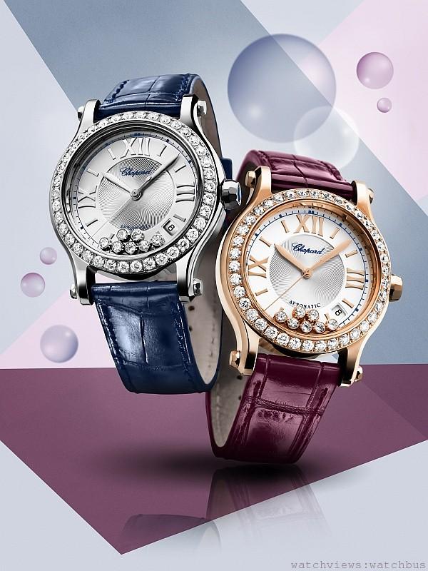 Happy Sport自動機芯腕錶,不鏽鋼/18K玫瑰金,銀質獨特紋飾錶盤,內含7顆滑動鑽石,錶圈鑲鑽,錶冠鑲嵌藍寶石。時分秒顯示,日期顯示於四點鐘方向,防水30米,搭配鱷魚皮錶帶與不鏽鋼針釦。(左)型號:278559-3003 / 售價 : NTD584,000; (右)型號:274808-5003 / 售價 : NTD 810,000。
