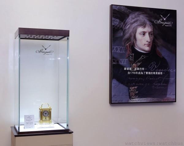 「寶璣鎏金歲月珍藏展」於台北101寶璣精品專賣店開展,圖為Breguet N° 3816 小型旅行鐘。