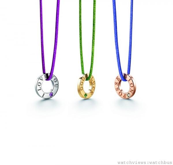 伯爵Possession系列,18K白金、黃金、玫瑰金墜飾(搭配皮繩可為手鍊、項鍊),台幣建議價格NTD28000。