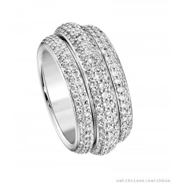 伯爵Possession系列18K白金指環,鑲飾322顆圓形美鑽(約重 3.2克拉),Ref. G34PU400,台幣建議價格NTD685000起。