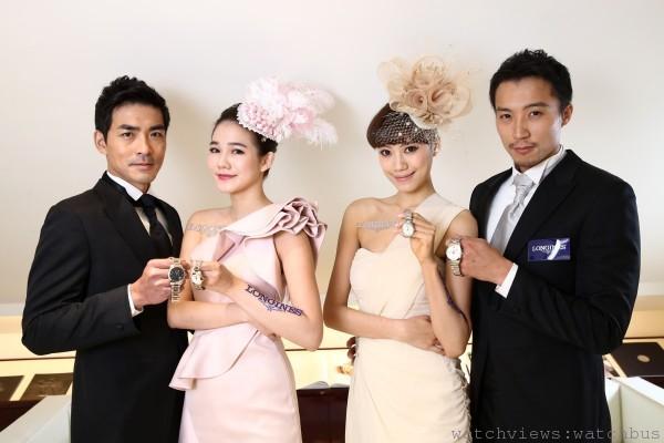 模特兒們共同展演浪琴表征服者經典系列最新錶款