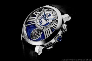[2014 SIHH 卡地亞呈獻]<br> 隱秘之月與周遊世界:Rotonde de Cartier「地球與月亮」陀飛輪雙時區月相腕錶