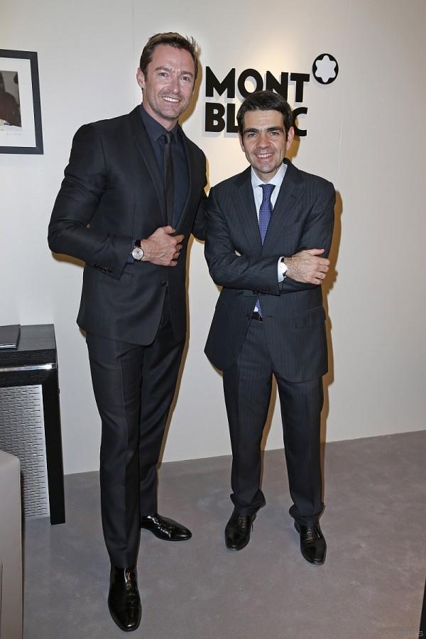 萬寶龍全球執行長傑羅姆‧蘭伯特(Jérôme Lambert)與新任萬寶龍品牌形象大使休傑克曼(Hugh Jackman)。