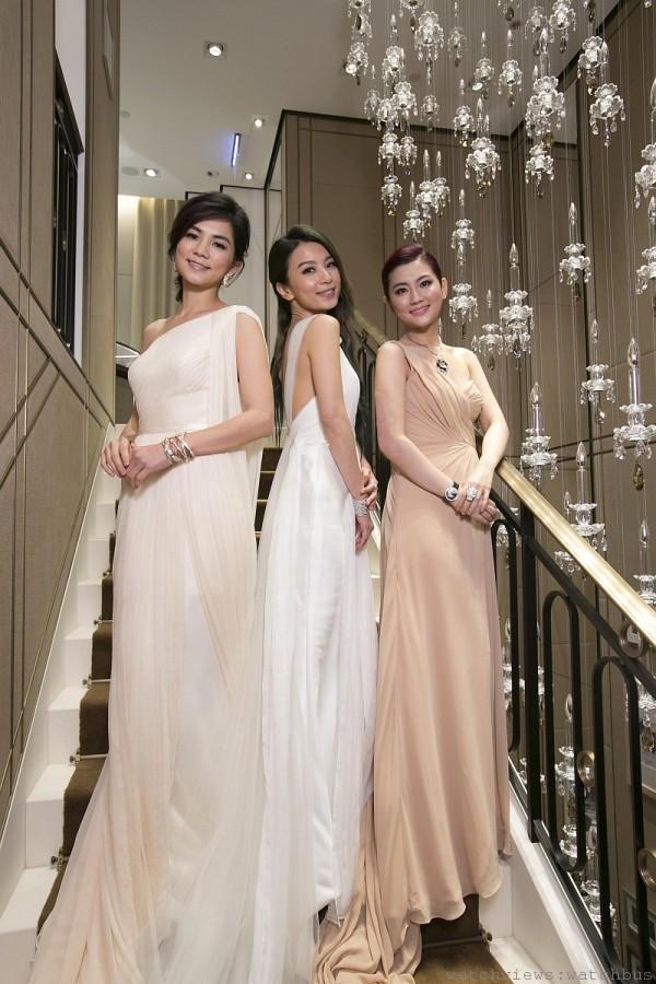 亞洲女子天團S.H.E, 合體出席卡地亞台北101專賣店開幕記者會。