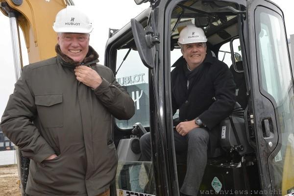 宇舶錶董事會主席兼LVMH集團鐘錶部門總裁比弗先生與宇舶錶全球CEO瓜達魯普先生共同為全新工廠培土奠基。