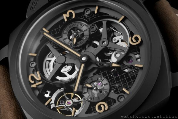 沛納海Lo Scienziato – Luminor 1950 Tourbillon GMT Ceramica 陀飛輪兩地時間陶瓷腕錶