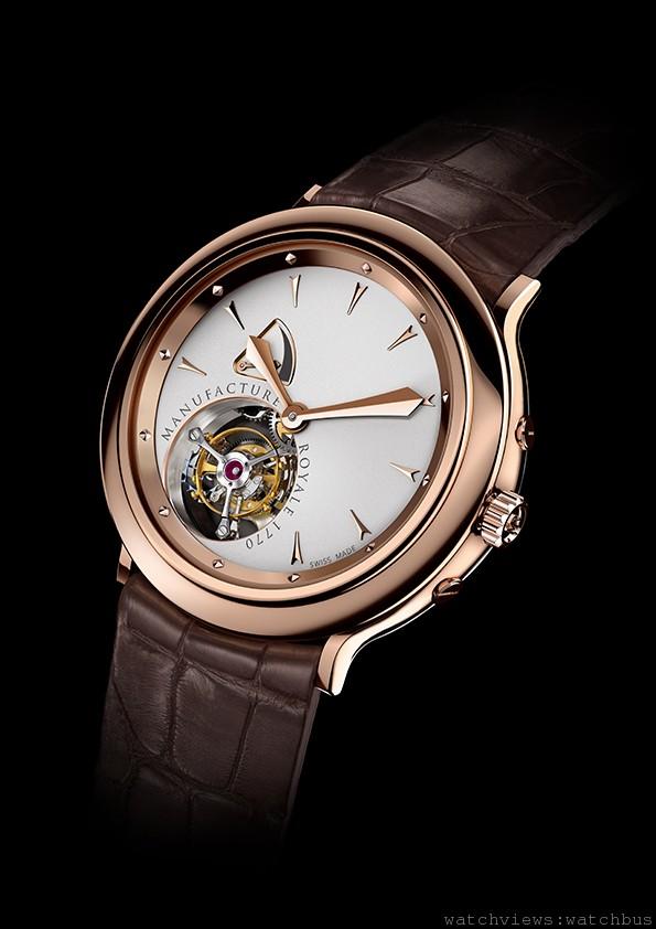 1770腕錶,18K玫瑰金錶殼,錶徑43毫米,時、分、一分鐘陀飛輪、動力儲能顯示,手上鍊機芯,動力儲能108小時,鱷魚皮錶帶。