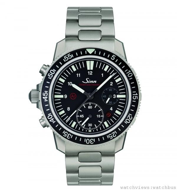 Sinn EZM 13任務編製500米專業潛水計時腕錶,Sinn SZ02改製自動上鍊計時機芯,60分鐘計時大表圈設計,通過歐洲航海工程領導公司DNV GL驗證,符合歐洲潛水配備規範EN250 / EN14143,防水500公尺,通過DNV.GL驗證,不銹鋼錶殼,無鎳鋼底蓋,單向潛水外環,高防磁達80,000 安培/米,硫酸銅粉管與Ar機芯防潮系統,機芯抗低溫專利潤滑油,工作溫度達–45C°~ +80°C,雙面防眩藍寶石水晶鏡面,特殊任務編製腕錶,左置龍頭按鈕設計,錶徑41.5mm,建議售價: NT$ 142,000 (皮帶) ; NT$ 153,000 (鋼帶)。