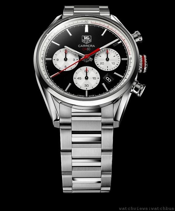 卡萊拉Carrera Calibre CH 80計時碼錶,不鏽鋼錶殼,錶徑41毫米,時、分、小秒針、日期、計時碼錶,Calibre CH 80自動上鍊機芯,防水100米,不鏽鋼鍊帶。