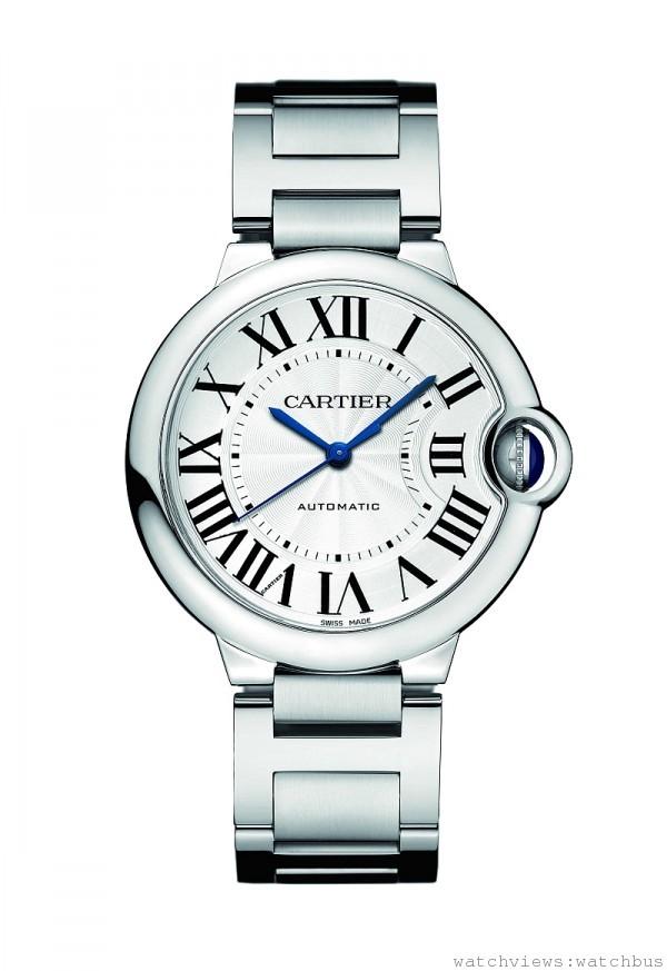 卡地亞Ballon Bleu de Cartier精鋼腕錶,精鋼錶殼與鏈帶,搭載自動機芯,36mm參考價格約$ 196,000。