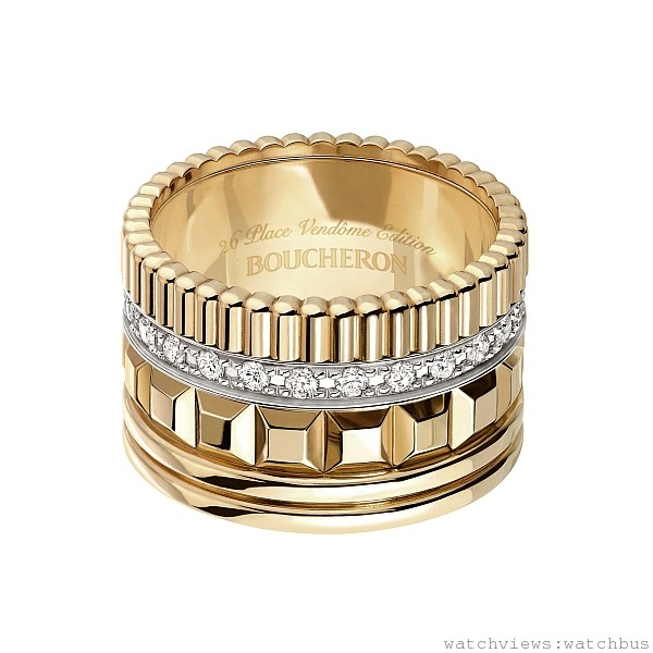 Quatre Radiant黃K金鑽戒 ,定價NTD357,000