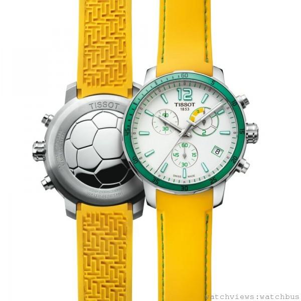 TISSOT Quickster football腕錶,瑞士製石英計時機芯,帶足球比賽計時功能,抗磨損藍寶石水晶錶面,316L精鋼錶殼,防水達100米,矽膠錶帶,建議售價NT$12,700。