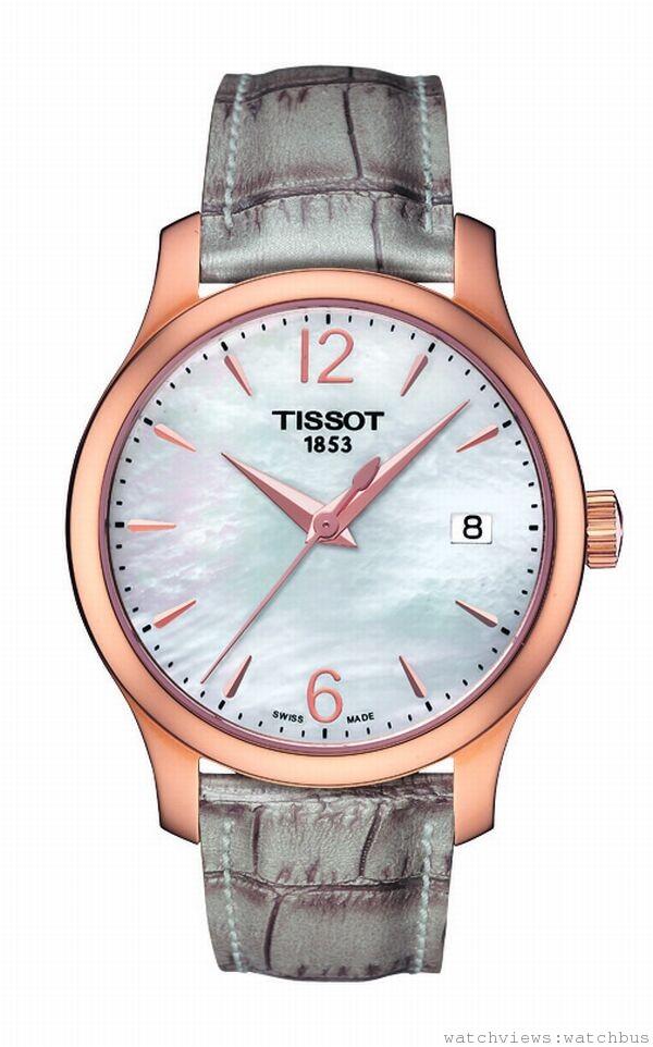 TISSOT Tradition Lady經典系列女裝腕錶,ETA.F05.111 石英機芯,玫瑰金PVD精鋼錶殼,錶徑33mm,皮革錶帶,防水30米,藍寶石水晶玻璃錶面,售價:NT$11,600。