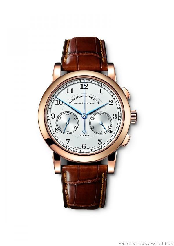 1815 Chronograph計時碼錶,18K 玫瑰金或白金錶殼,錶徑39.5 毫米,時、分、小秒針、飛返功能計時碼錶,L951.5 手上鍊機芯,動力儲存60 小時,藍寶石水晶玻璃鏡面及後底蓋,鱷魚皮錶帶。