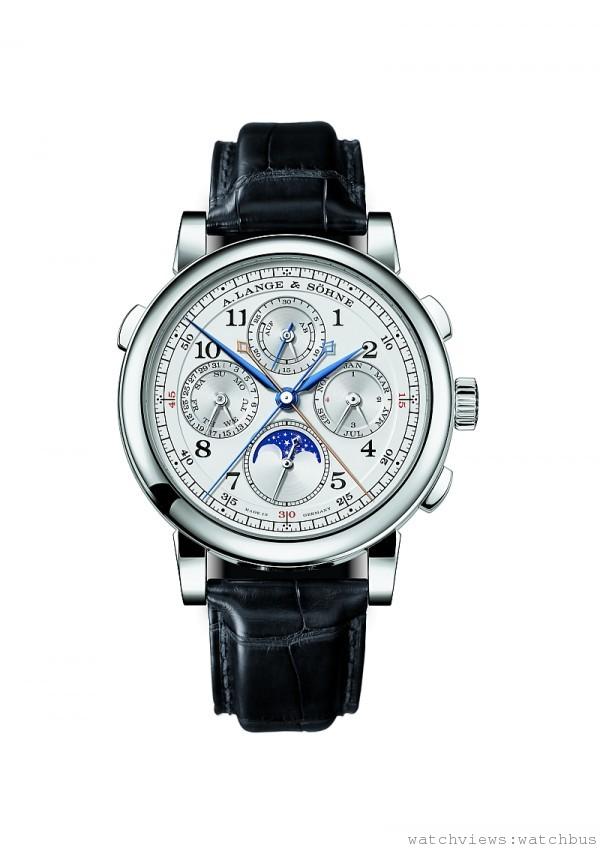 1815 Rattrapante Perpetual Calendar萬年曆雙追針計時碼錶,鉑金或18K 玫瑰金錶殼,錶徑41.9毫米, L101.1 手上鍊機芯,時、分、小秒針、月相、萬年曆、動力儲存顯示、雙追針計時碼錶,動力儲存42小時,藍寶石水晶玻璃鏡面及後底蓋,鱷魚皮錶帶。
