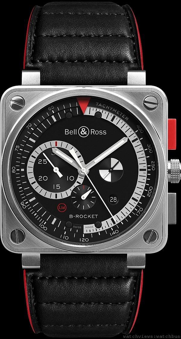 BR01 B-Rocket ,不鏽鋼錶殼,錶徑46毫米,計時按鈕包覆聚碳酸塑膠合金,時、分、小秒針、日期、計時碼錶附測速儀,自動上鍊機芯,防水100米,紅邊紅襯裡墊皮錶帶。