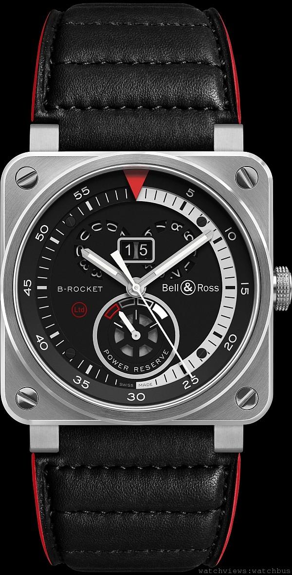 BR03 B-Rocket,不鏽鋼錶殼,錶徑42毫米時、分、小秒針、大日期、動力儲能顯示,自動上鍊機芯,防水100米,紅邊紅襯裡墊皮錶帶。