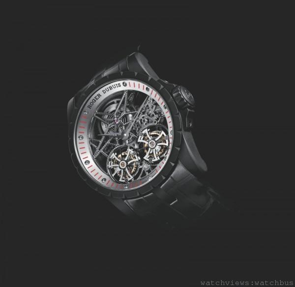 Excalibur Skeleton Double Flying Tourbillon鏤空雙飛行陀飛輪腕錶,獨一無二的時計。