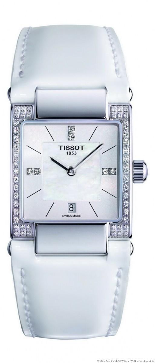TISSOT T02女裝鑽錶,瑞士製石英機芯,抗磨損藍寶石水晶錶面,316L精鋼錶殼,防水50米,白色皮革錶帶,珍珠母貝面盤,鑲有56顆頂級威塞爾頓美鑽,建議售價NT$38,700。