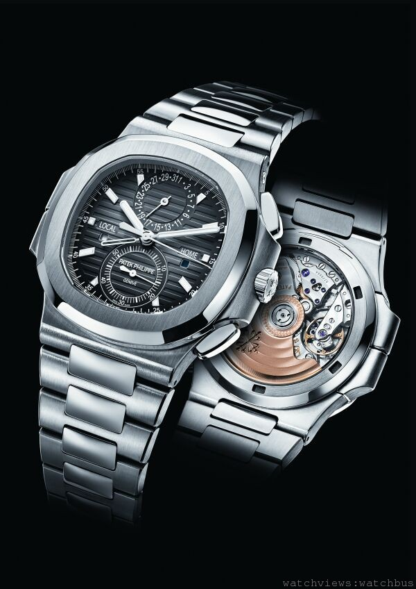Nautilus 兩地時間計時碼錶Ref. 5990/1A,不鏽鋼錶殼,錶徑40.5 毫米( 不含錶冠),時、分、中心計時秒針、計時碼錶、60 分計時積時盤、當地時間、原居地時間帶晝/ 夜顯示、指針式日期顯示,CH 28-520 CFUS 自動上鍊機芯,百達翡麗印記,動力儲能55 小時,Spiromax 游絲,防水120 米,不鏽鋼鍊帶。