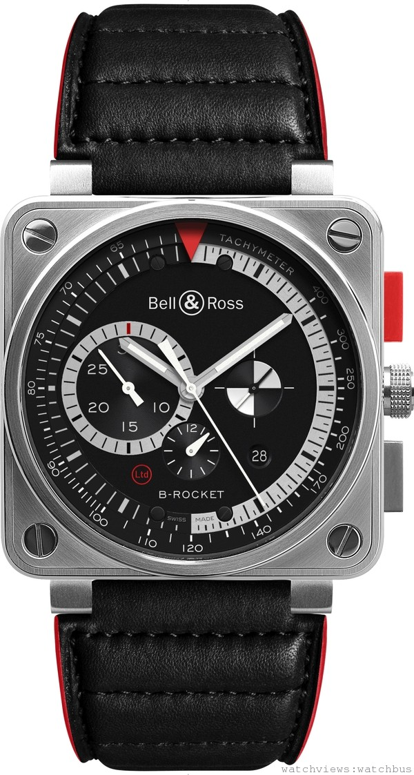 BR 01 B-ROCKET計時碼錶:磨砂不鏽鋼錶殼,錶徑46毫米,啞黑色錶盤,鏤空夜光時針及分針,防眩水晶玻璃錶鏡,時、分、秒,日期,測速計;計時:60秒、30分鐘及12小時計時器,自動上鍊機械機芯,黑色墊皮紅邊錶帶、黑色堅韌合成纖維,磨砂不鏽鋼針扣,防水100米,建議售價NTD 268,900