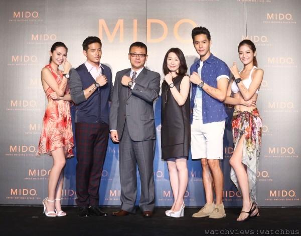 (由左至右)女模Yana、宥勝、MIDO副總藍楷茗、Swatch集團台灣分公司李佩倩總經理、丁春誠。
