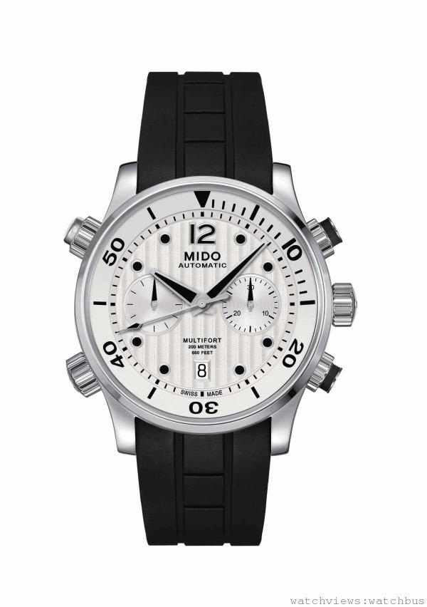 Multifort Chronograph Caliber 60先鋒系列潛水計時腕錶,Cal MIDO 60 (以ETA A05為基礎) 自動上鍊機芯,60小時動力儲存,時、分、秒,日期顯示,316L不鏽鋼材質錶殼,錶徑44mm,白色直條狀日內瓦波紋,搭配白色12時標Super-LumiNova螢光塗料,黑色橡膠錶帶,搭配不鏽鋼安全式扣環,建議售價NT$65700。