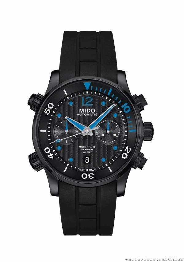Multifort Chronograph Caliber 60先鋒系列潛水計時腕錶,Cal MIDO 60 (以ETA A05為基礎) 自動上鍊機芯,60小時動力儲存,時、分、秒,日期顯示,黑色PVD真空電鍍處理材質錶殼,錶徑44mm,黑色直條狀日內瓦波紋,搭配白色12時標Super-LumiNova螢光塗料,黑色橡膠錶帶,搭配黑色PVD安全式扣環,建議售價NT$69200。