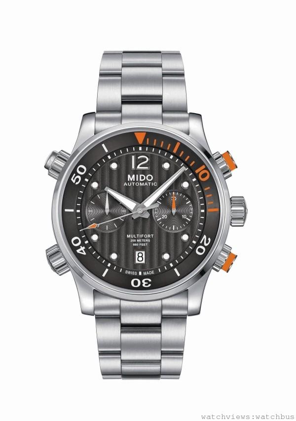 Multifort Chronograph Caliber 60先鋒系列潛水計時腕錶,Cal MIDO 60 (以ETA A05為基礎) 自動上鍊機芯,60小時動力儲存,時、分、秒,日期顯示,316L不鏽鋼材質錶殼,(右)黑色PVD真空電鍍處理材質,錶徑44mm,雙面防眩藍寶石水晶玻璃鏡面,旋入式錶冠,透明底蓋可透視精緻裝飾機芯,防水可達200公尺,白色直條狀日內瓦波紋,搭配白色12時標Super-LumiNova螢光塗料,深灰色直條狀日內瓦波紋,搭配白色12時標,Super-LumiNova螢光塗料,黑色直條狀日內瓦波紋,搭配白色12時標Super-LumiNova螢光塗料,計時碼錶功能置於中央大秒針60秒計時盤,3點鐘方位30分鐘計時盤,9點鐘方位為小秒盤。3點鐘位置的錶冠,為設定時間、上鍊用;8點鐘位置的錶冠為單向轉盤潛水計時器;10點鐘位置錶冠為日期調整,此款新增2點鐘位置的旋入式按壓計時錶冠,及4點鐘位置旋入式按壓計時歸零錶冠,黑色橡膠錶帶,搭配不鏽鋼安全式扣環,不鏽鋼金屬鍊帶,搭配不鏽鋼安全式扣環,黑色橡膠錶帶,搭配黑色PVD安全式扣環,建議售價(左) NT$65700(中) NT$66700(右) NT$69200。