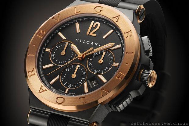 四種嶄新風格演繹自信力量:BVLGARI Diagono Ultranero 計時碼錶