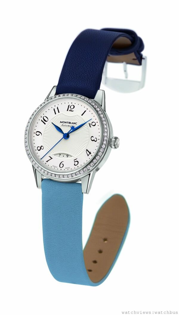萬寶龍Boheme寶曦系列鑲鑽自動女仕腕錶雙色錶帶款,NT$158,800。