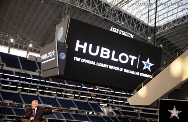 Dallas Cowboys達拉斯牛仔隊主場AT&T球場上方大型高畫質電視螢幕將顯示HUBLOT宇舶錶標示,用於所有主場比賽賽前倒數計時。
