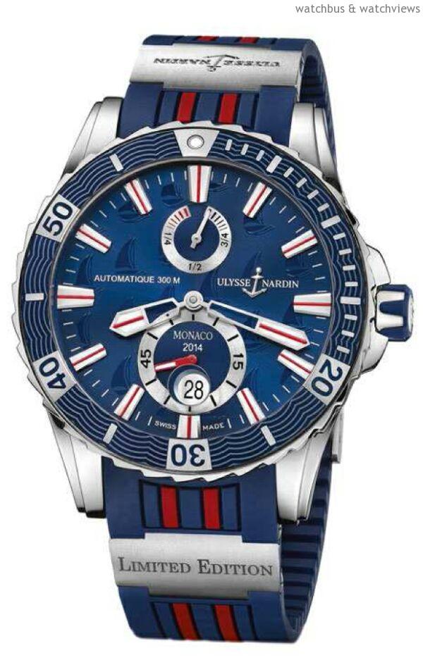 "Marine Diver – Monaco Limited Edition《摩納哥航海潛水限量腕錶》,型號:263-10LE-3/93-MON,不銹鋼錶殼,直徑44毫米,藍色橡膠錶盤,錶盤上有帆船圖案裝飾及印有""Monaco 2014"", 單向逆轉式潛水計時錶圈,時、分、秒、日期、動力儲能顯示,UN-26自動上鍊機芯,藍寶石水晶玻璃鏡面,防水300米,獨有橡膠錶帶搭配鈦金屬組件連折疊帶扣,定價TWD 284,000,全球限量100枚。"