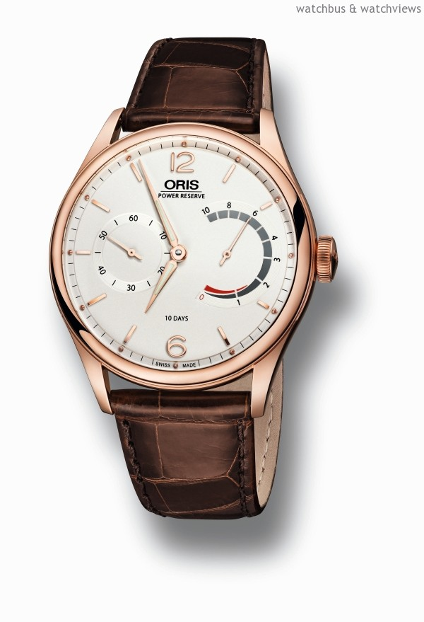 ORIS 110週年限量腕錶,18K玫瑰金錶殼,錶徑43毫米,時、分、小秒針,動力儲存指示,Calibre 110手上鍊機芯,動力儲能10日,防水30米,鱷魚皮錶帶,限量110只。