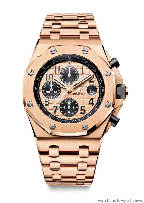 皇家橡樹離岸型計時碼錶,18K 玫瑰金錶殼,錶徑42 毫米,玫瑰金色調錶盤鐫刻「Méga Tapisserie」超大型格紋裝飾,時、分、小秒針、日期、計時碼錶,Calibre3126/3840 自動上鍊機芯,動力儲存55 小時,防水100 米。