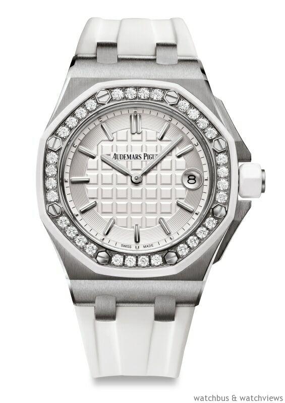 皇家橡樹離岸型系列37mm不鏽鋼錶殼,錶圈鑲嵌32 顆1.02 克拉美鑽,錶徑37 毫米,時、分、日期,Calibre 2714 石英機芯。