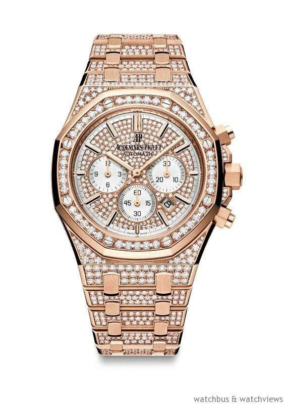 皇家橡樹計時碼錶,18K 玫瑰金錶殼,錶徑41 毫米,錶殼、錶圈、錶帶及面盤鑲嵌966 顆、7.84克拉美鑽,時、分、小秒針、日期、計時碼錶,Calibre 2385自動上鍊機芯,動力儲存40 小時,防水50 米。