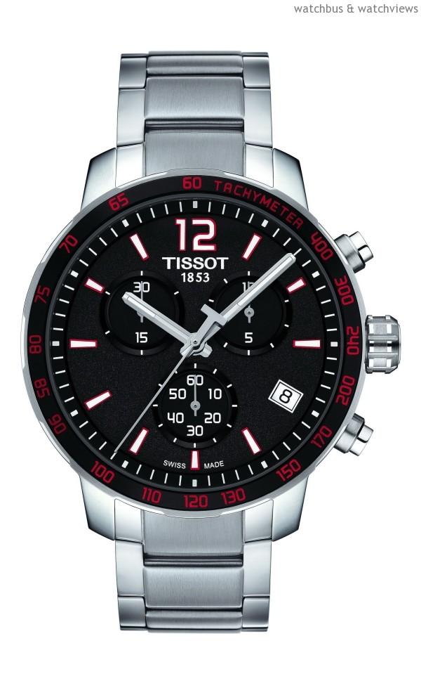 TISSOT Quickster時捷系列計時腕錶-紅白配色精鋼錶帶