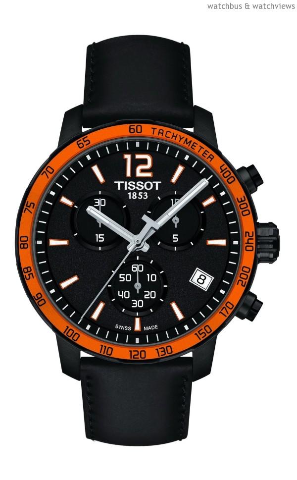 TISSOT Quickster時捷系列計時腕錶-橘黑配色皮革錶帶