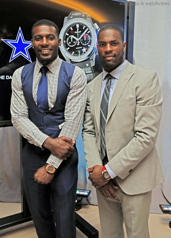 達拉斯牛仔隊跑鋒DeMarco Murray(左)與外接手Dez Bryant(右)均配戴Hublot腕錶
