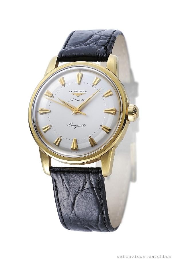 1954年5月5日,浪琴表向瑞士聯邦智慧財產局註冊「Conquest」商標名稱。此系列的首款作品擁有備受好評的精準性與設計,因此立即獲得大眾的青睞。「Conquest」之名迅速成為偉大成就的計時的代名詞,特別作為橫跨大西洋計時器的輝煌紀錄。充滿運動感卻又極為優雅的征服者系列錶款,強調充分享受生活並且把握美好時光的重要性。