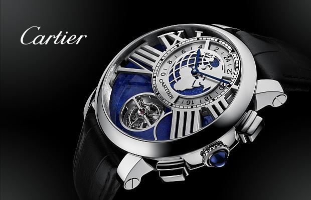 卡地亞2014年高級製錶系列──Rotonde de Cartier「地球與月亮」陀飛輪雙時區月相腕錶