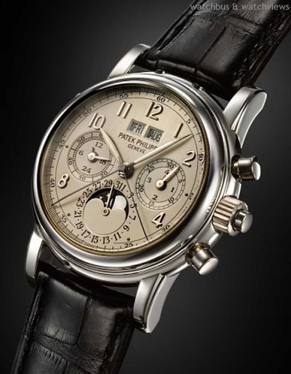 百達翡麗Patek Philippe萬年曆雙追針計時碼腕錶, 型號5004P 型號5004於1995年生產,是品牌最出衆及高端複雜 型號的代表之一,特別在於它採用Nouvelle Lemania 機芯,此機芯橋板佈局細膩,層次分明,具備萬年曆及 雙追針同步計時功能,是最後一款非自家機芯型號, 現已停產。 估值:港幣1,400,000-1,600,000
