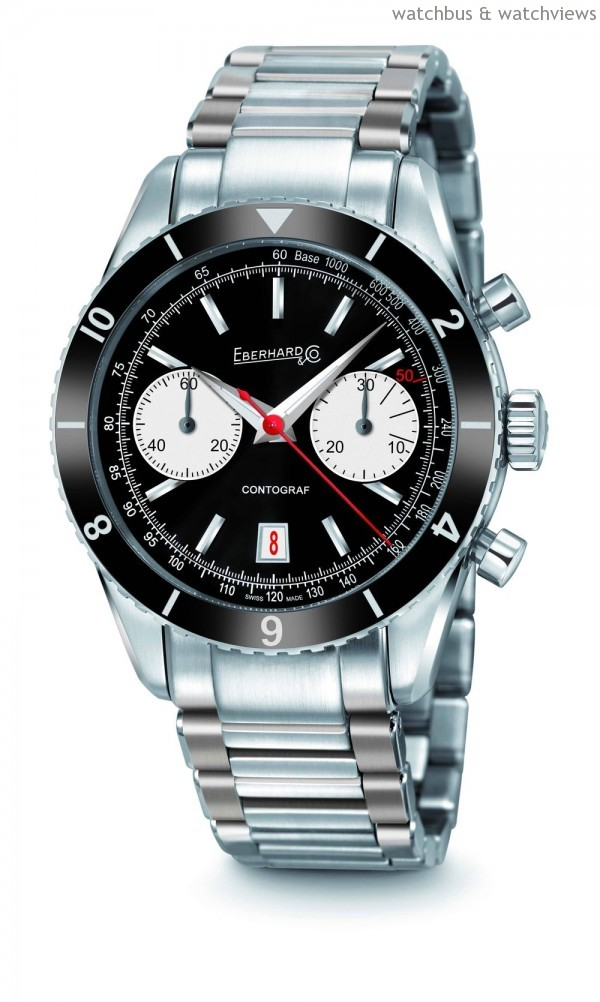 CONTOGRAF計時腕錶,黑色面盤白色計分盤款,建議售價:NT$ 195,000